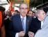 Eduardo Cunha, presidente de la Cámara de Diputados de Brasil, llega para una reunión con empleados sindicales en Sao Paulo, el viernes 21 de agosto de 2015. La fiscalía presentó cargos el jueves contra Cunha por su presunta participación en un escándalo de corrupción en la empresa petrolera estatal Petrobras. (Foto AP/Andre Penner)