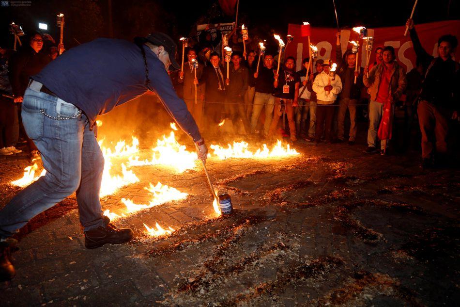 QUITO 12 de agosto DE 2015 En el parque del Arbolito, en Quto, se reunieron los marchantes, de los movimientos sociales, de cara a la protesta anunciada para este 13 de agosto de 2015 FOTO API / JAVIER CAZAR