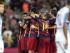 BARCELONA, 29/08/2015.- Los jugadores del FC Barcelona celebran el gol del belga Thomas Vermaelen, durante el partido, correspondiente a la segunda jornada del Campeonato de Liga, que FC Barcelona y Málaga CF disputan hoy en el Camp Nou, en Barcelona. EFE/Toni Albir