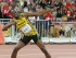 Usain Bolt celebra tras ganar la prueba de 100 metros en el Mundial de Atletismo que se disputa en Beijing el domingo 23 de agosto de 2015. (Foto AP/Lee Jin-man).