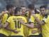 Jugadores del Dortmund celebran un gol de Pierre-Emerick Aubameyang (izquierda) en el partido contra el Hertha Berlí que se jugó el domingo 30 de agosto de 2015. (Foto AP/Martin Meissner)