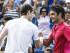 Andy Murray of Great Britain (L) contratulates Roger Federer of Switzerland after Federer defeated him in their semifinal round match in the Western & Southern Open at the Linder Family Tennis Center in Mason, near Cincinnati, Ohio, USA, 22 August 2015. (Tenis, Suiza, Estados Unidos) EFE/EPA/TANNEN MAURY.