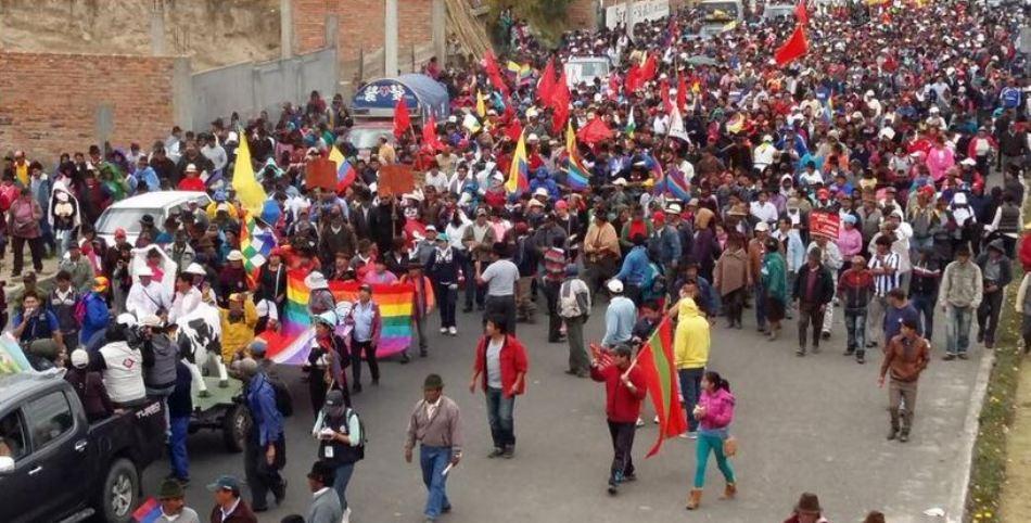 La marha indígena llega a Latacunga, el 10 de agosto de 2015. Foto tuiteada por @jcarlosaizprua
