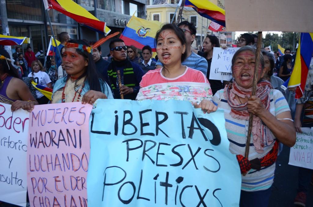Marchas en el centro de Quito. Foto API.