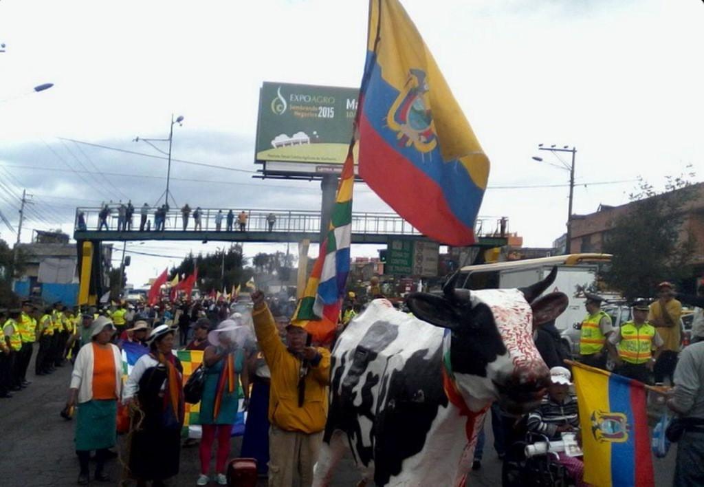 Marcha indígena en el sur de Quito. Foto: @MarchaEC