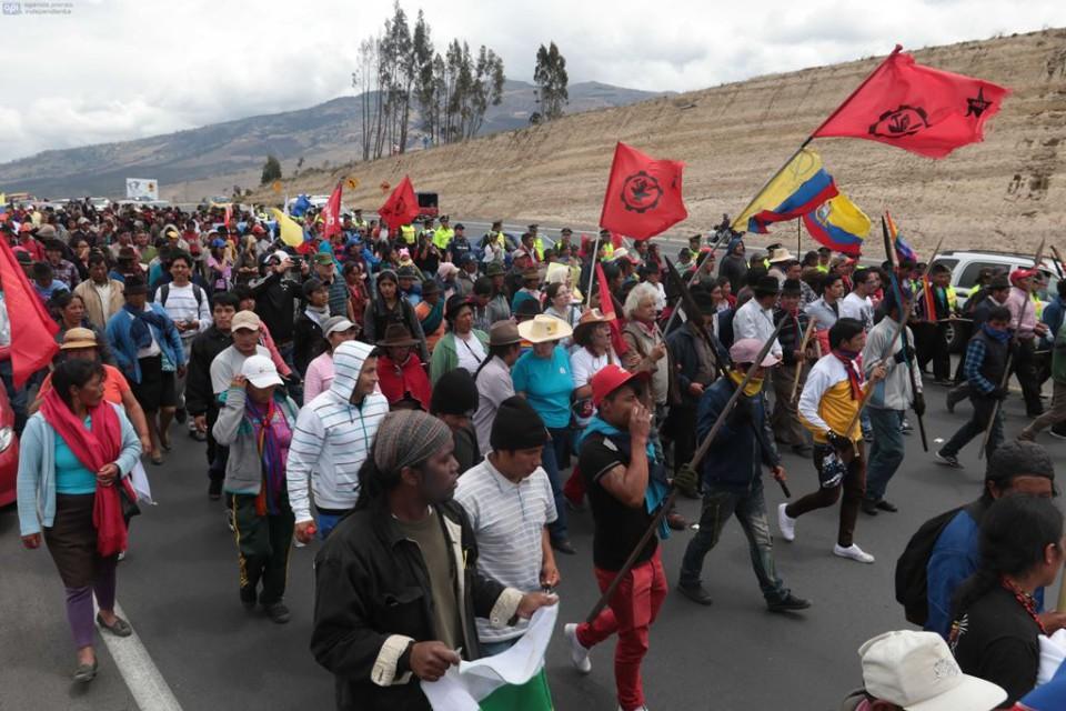 Marcha indígena en Salcedo, Tungurahua, el 9 de agosto de 2015. Foto: API