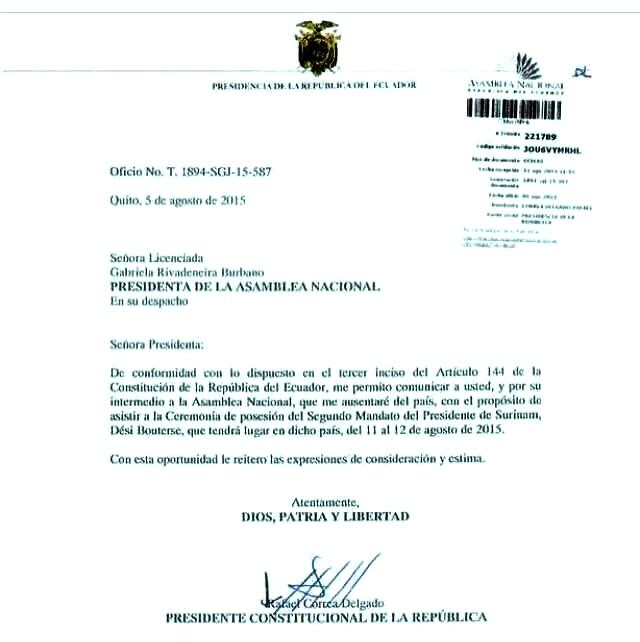 Facsímil de la carta enviada a la presidenta de la Asamblea Nacional.