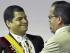 Rafael Correa y Alberto Acosta, en la Asamblea Constituyente de Montecristi. Foto de Archivo, La República.
