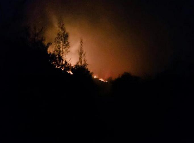 Incendio en el cerro Ilaló. Foto de Bomberos.
