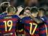 El defensa del FC Barcelona Marc Bartra celebra con sus compañeros el gol marcado ante el Levante, durante el partido de la cuarta jornada de Liga en Primera División que se disputa hoy en el Camp Nou, en Barcelona. EFE/Andreu Dalmau.