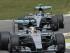 Los pilotos de Mercedes, Lewis Hamilton, al frente, y Nico Rosberg manejan en una práctica del GP de Italia el viernes, 4 de septiembre de 2015, en Monza, Italia. (AP Photo/Luca Bruno).