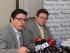 Directivos de Fundamedios César Ricaurte y Mauricio Alarcón dan rueda de prensa acerca de la notificación de proceso de disolución de la fundación. Fotografías: Carlos Rodríguez/Andes.