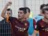 El jugador de la Roma, Iago Falque, izquierda, festeja un gol contra Frosinone por la liga italiana el sábado, 12 de septiembre de 2015, en Frosinone, Italia. (AP Photo/Gregorio Borgia)