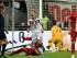 Mario Goetze, de la selección alemana, celebra tras anotar el primer tanto frente a Polonia, en un encuentro de la eliminatoria para la Eurocopa de 2016, disputado el viernes 4 de septiembre de 2015 en Francfort (AP Foto/Martin Meissner)