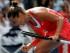 La italiana Roberta Vinci festeja tras ganar el segundo set contra Serena Williams en las semifinales del US Open el viernes, 11 de septiembre de 2015, en Nueva York. (AP Photo/Julio Cortez)