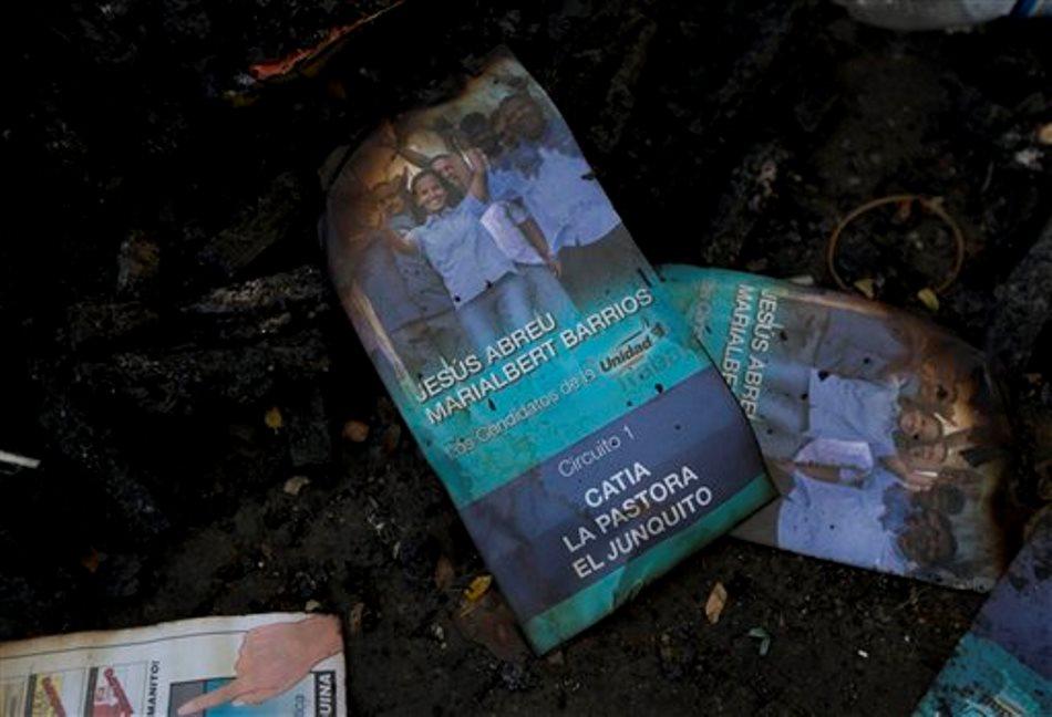 Volantes y afiches que promueven la candidatura a congresista de la opositora Marialbert Barrios son vistas sobre un montón de basura en el barrio Cati, en Caracas, Venezuela, el martes 24 de noviembre de 2015. Dirigentes y candidatos opositores denunciaron que supuestos seguidores del gobierno venezolano algunos armados y quese  movilizaban en motocicletas los atacaron cuando colgaban propaganda electoral con miras a las elecciones del 6 de diciembre. (AP Photo/Ariana Cubillos)