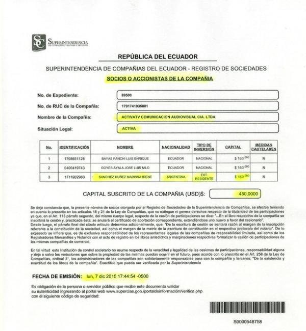 Facsímil de documento de la Superintendencia de Compañías, con los socios de Activa TV, publicado por El Universo.