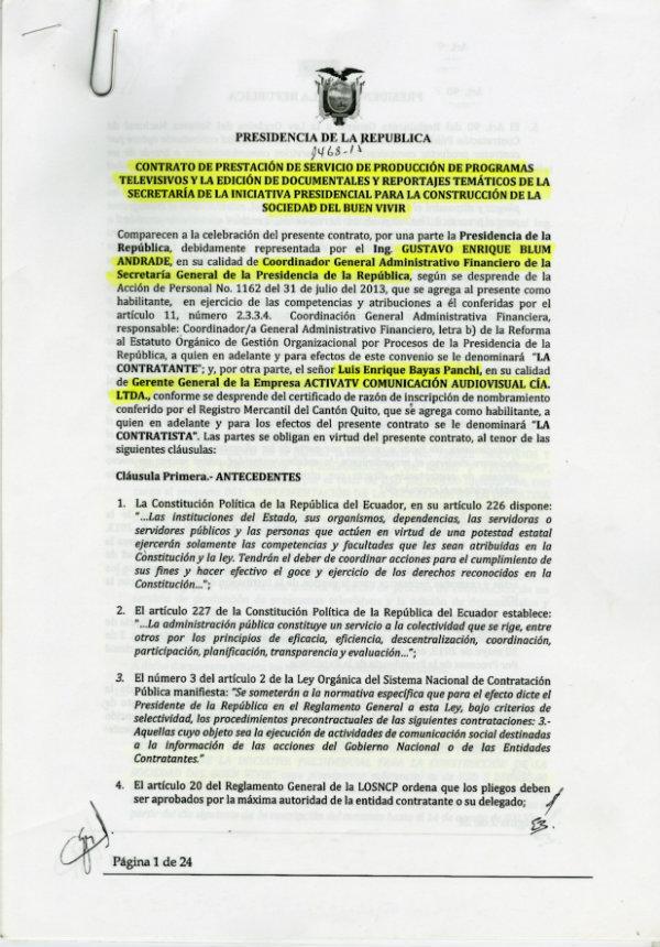 Documento de la firma del contrato que publicó Diario El Universo en su nota del miércoles 2 de Diciembre.