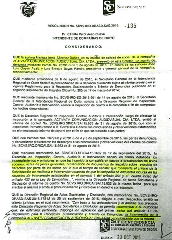 Documento de la Superintendencia de Compañías entregado por Marissa Sánchez a El Universo.
