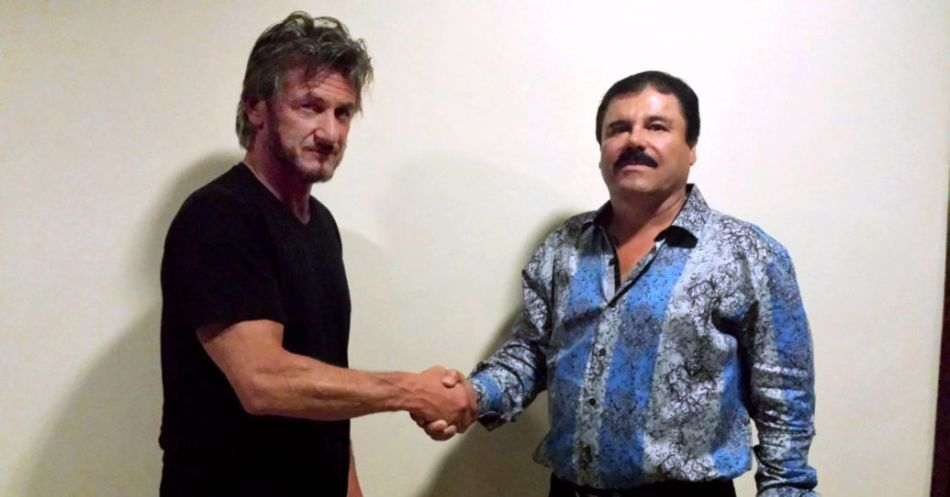 The author and then-fugitive El Chapo Guzmán, on October 2nd. The photo was taken for verification purposes. After a long dinner and conversation, Chapo granted Penn's request for a formal interview. Courtesy of Sean Penn