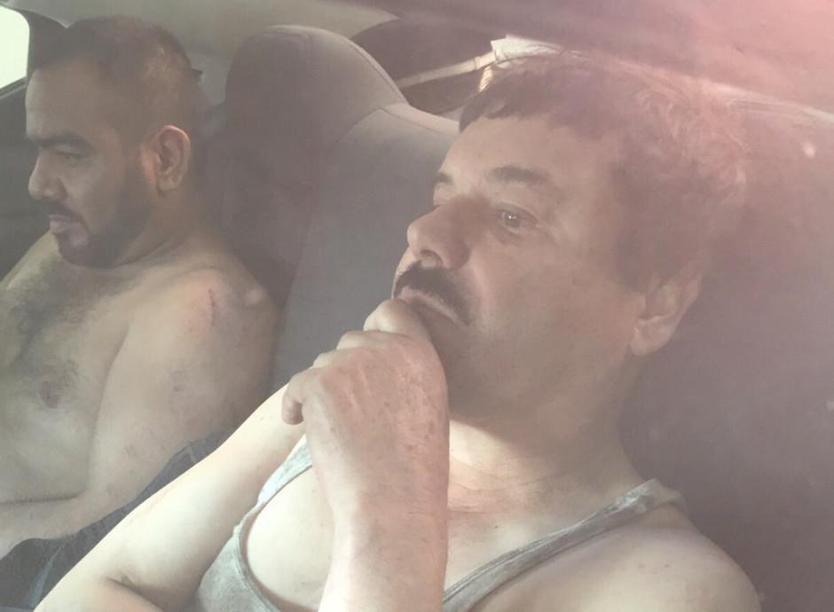 """Primera imagen del narcotraficante Joaquín """"El Chapo"""" Guzmán filtrada a medios locales el 8 de enero de 2016, tras su recaptura en la ciudad de Los Mochis, Sinaloa (México). EFE/STR"""