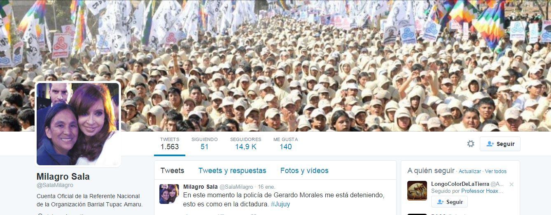 Milagros Sala, cuenta de Twitter.