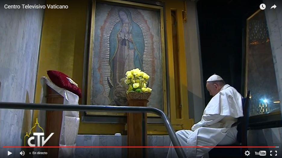 El papa Francisco, en la Basílica de la Virgen de Guadalupe, en México, el 13 de febrero de 2016. Captura de pantalla de la Radio Televisión Vaticana.