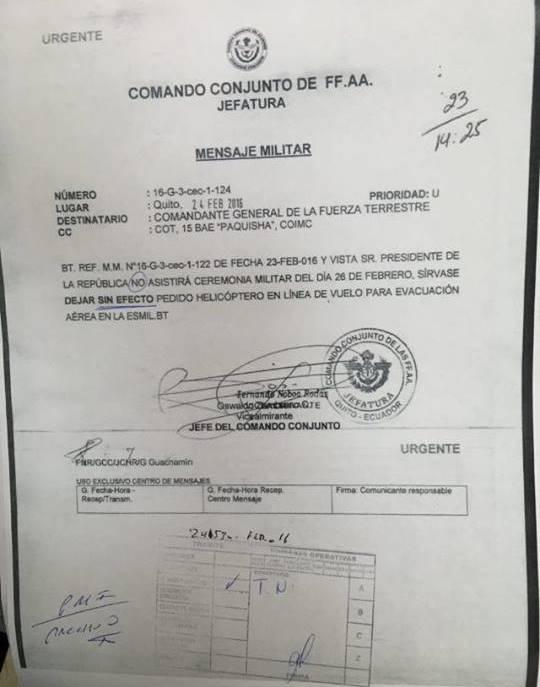 Captura de mensaje enviado por el Jefe del Comando Conjunto, Osvaldo Zambrano, el 24 de febrero de 2016. Fuentes del Comando Conjunto han confirmado a El Comercio la veracidad del documento. El diario informa que las órdenes han cambiado luego.