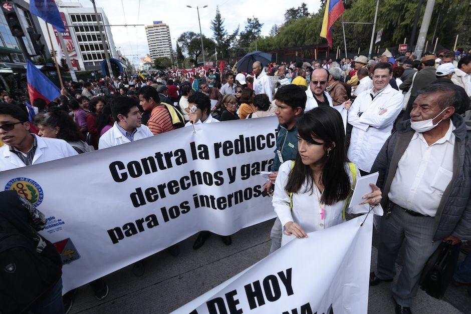 Marcha de los trabajadores, el 17 de marzo de 2016. API/Juan Cevallos