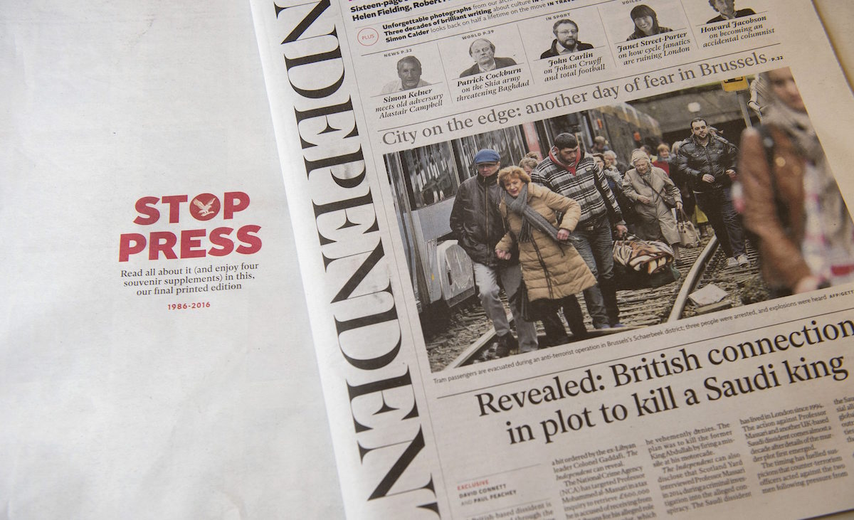 Final print edition of the Independent newspaper, Britain