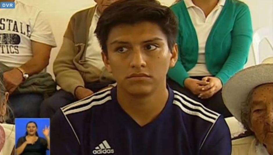 Pablo Maldonado, becario del Grupo de Alto Rendimiento, de Morona. Captura de pantalla del Enlace Ciudadano del 19 de marzo de 2016.