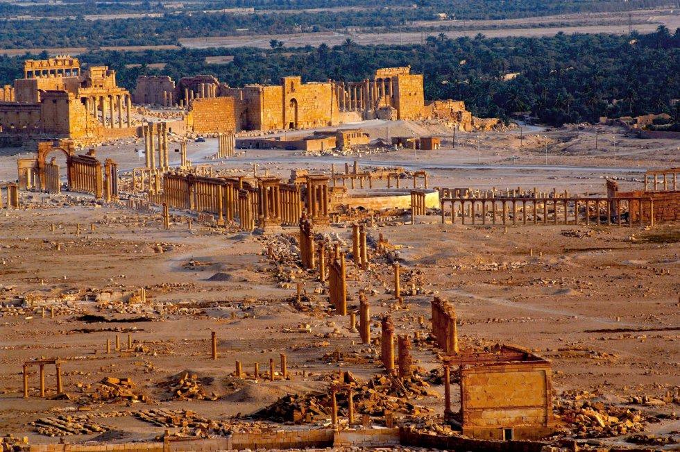 Foto difundida por la agencia oficial de noticias siria SANA, muestra la antigua ciudad de Palmira, una joya arqueológica. (AP)