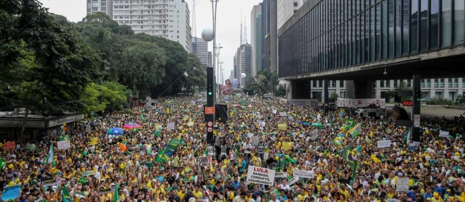 La Avenida Paulista, en Sao Paulo, el 13 de marzo de 2016. Foto publicado por el diario O Globo.
