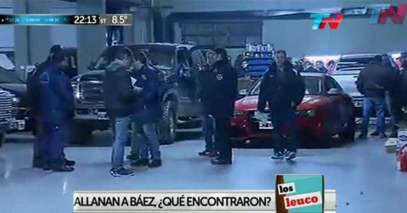 Una vista del galpón dónde Lázaro Báez almacenaba parte de su flota de vehículos.