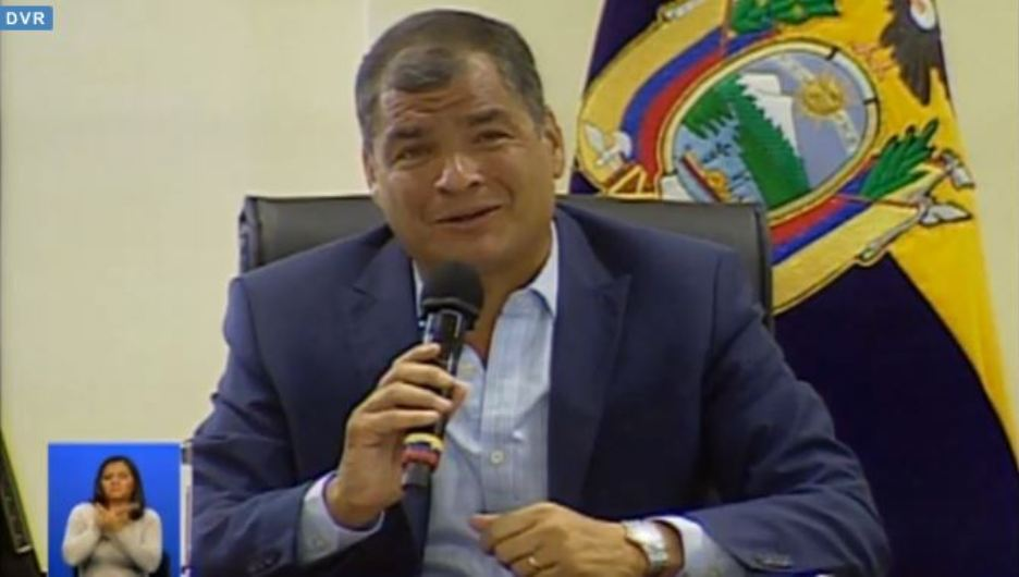 El presidente Rafael Correa, en la sabatina del 23 de abril de 2016. Captura de pantalla de la transmisión del portal oficial El Ciudadano.