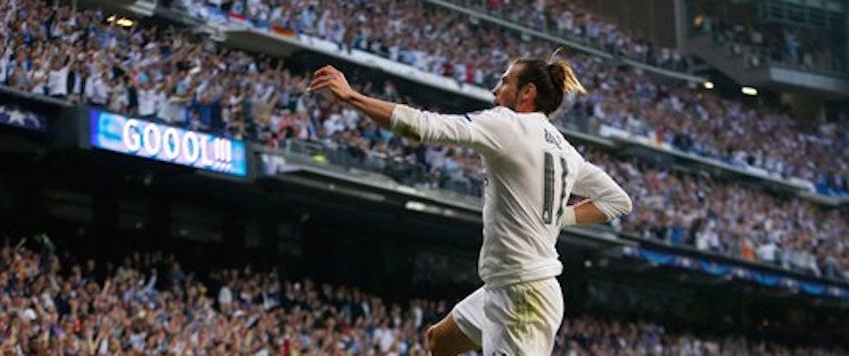 El jugador de Real Madrid, Gareth Bale, festeja un gol contra Manchester City en un partido por las semifinales de la Liga de Campeones el miÈrcoles, 4 de mayo de 2016, en Madrid. (AP Photo/Francisco Seco)