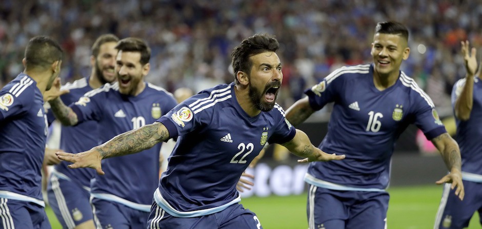 Argentina forward Ezequiel Lavezzi (22) celebrates his goal against the United States  during a Copa America Centenario semifinal soccer match Tuesday, June 21, 2016, in Houston. (AP Photo/David J. Phillip)