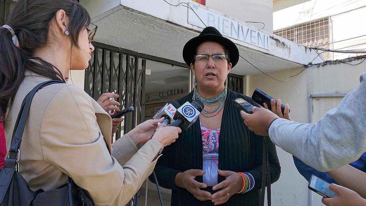 Lourdes Tiban, en el consejo político de Pachakutik.