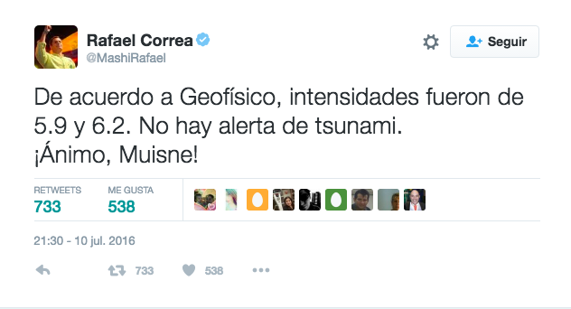 Correa sismo