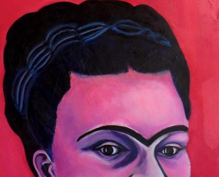 Fotografía cedida por Menier Gallery de la obra de la colombiana Beatriz Acevedo. Cerca de medio centenar de artistas de todo el mundo rinden un homenaje a Frida Kahlo por haber inspirado sus creaciones, en una exposición que estará abierta al público hasta el 31 de agosto en la Menier Gallery de Londres. EFE