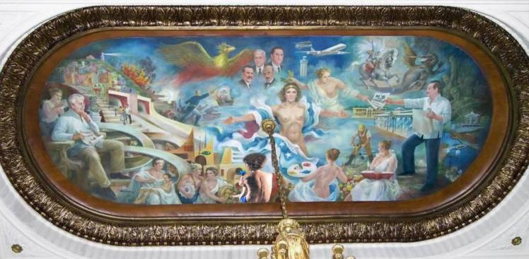 """Mural """"Apoteosis de Guayaquil"""", ubicado en el tumbado del Salón de la Ciudad, en el Palacio Municipal de  Guayaquil."""