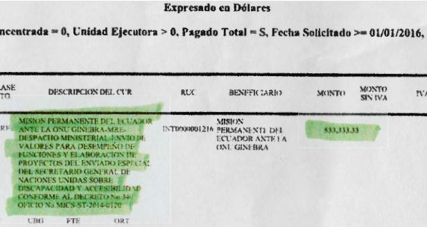 El documento al que accedió MilHojas.is, en el que se detalla la transferencia que hace el Gobierno de Rafael Correa a Lenín Moreno en Ginebra.