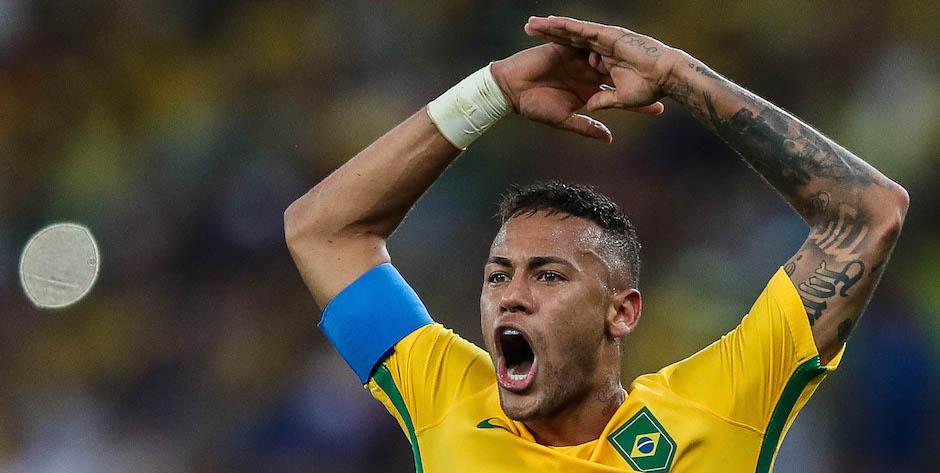 RÍO DE JANEIRO (BRASIL), 20/08/2016.- Neymar Jr de Brasil celebra tras anotar ante Alemania durante el juego por la medalla de oro de fútbol masculino de los Juegos Olímpicos Río 2016 hoy, sábado 20 de agosto de 2016, en el Estadio Maracaná de Río de Janeiro (Brasil). EFE/FERNANDO BIZERRA JR