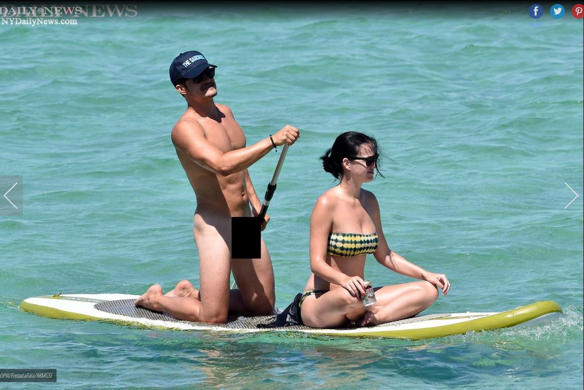 Orlando Bloom, y su novia Katy Perry, como las publicó el Daily News.