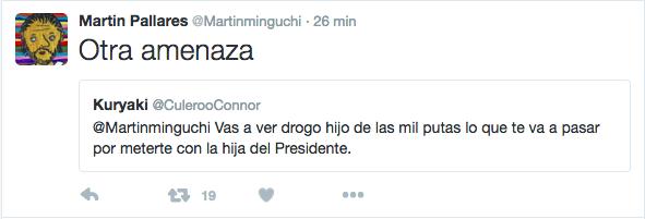 Captura de pantalla de la cuenta personal de Martin Pallares @Martinmiguchi