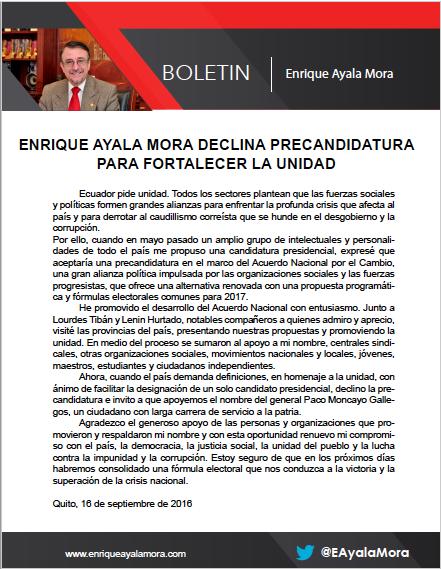 Boletín enviado por Enrique Ayala Mora el 16 de septiembre de 2016.