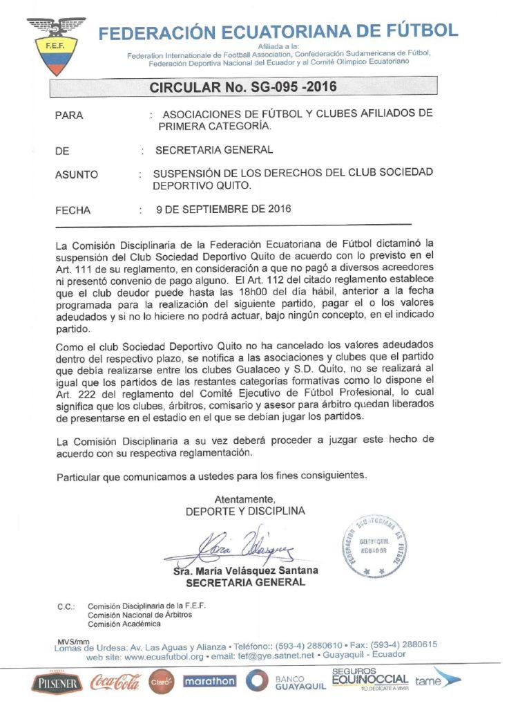 Comunicado que confirma suspensión al Deportivo Quito