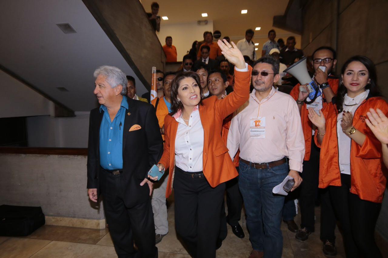 La directora nacional de la Izquierda Democrática, Vilma Andrade, en la convención nacional, en Ambato, el 24 de septiembre de 2016.