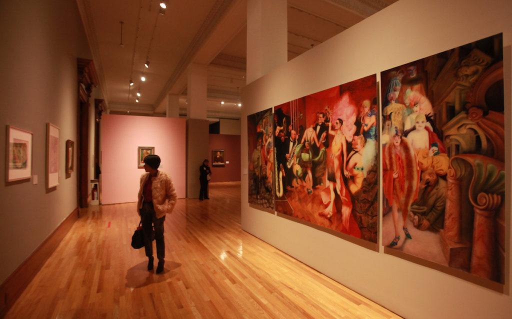 """CIUDAD DE MÉXICO (MÉXICO), 11/10/2016.- Vista de la obra """"Metropolis"""" hoy, martes 11 de octubre de 2016, en la exposición """"Violencia y Pasión"""" del artista alemán Otto Dix, en el Museo Nacional de Arte de Ciudad de México (México). """"Violencia y Pasión"""", de Otto Dix, se expone por primera en México en el marco de las celebraciones del año dual México- Alemania. EFE/Mario Guzmán"""