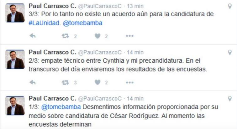 """Foto: Captura de pantalla de la noticia publicada en www.eltelegrafo.com.ec """"Paúl Carrasco borra los tuits en donde afirmaba que estaba en """"empate técnico"""" con Cynthia Viteri""""."""